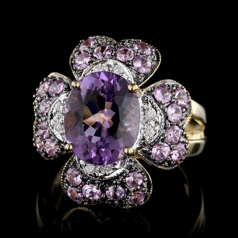 14K Yellow Gold Amethyst, Pink Sapphire and Diamond Ring