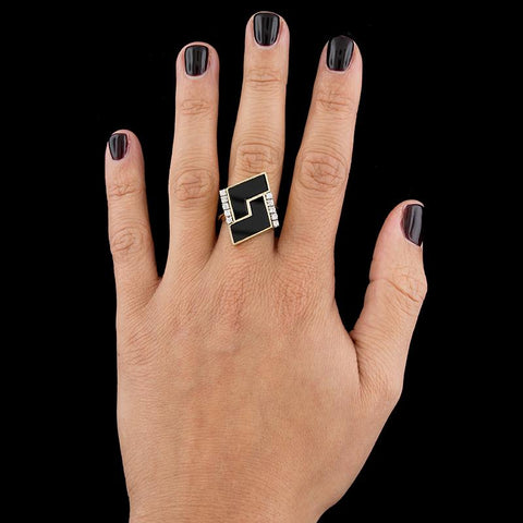 18K Yellow Gold Black Onyx and Diamond Ring