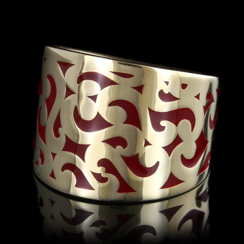 14K Yellow Gold Enamel Band