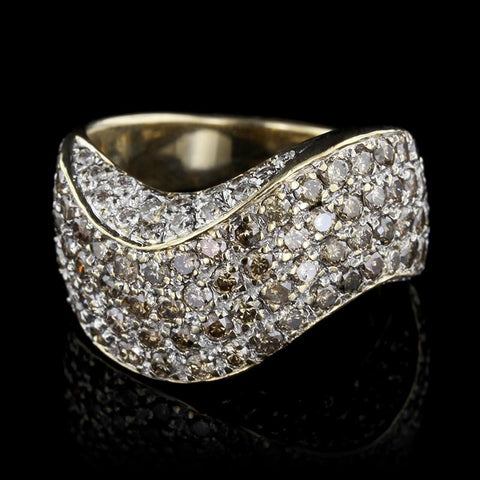 14K Yellow Gold Brown Diamond and Diamond Ring