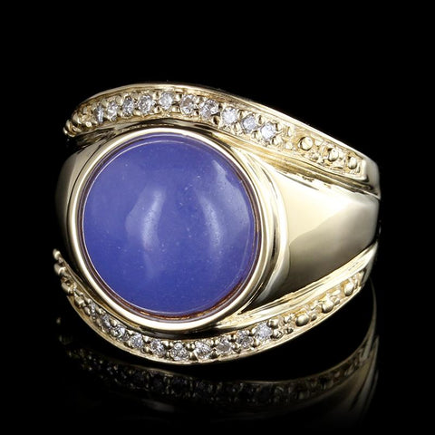 14K Yellow Gold Lavender Jade and Diamond Ring