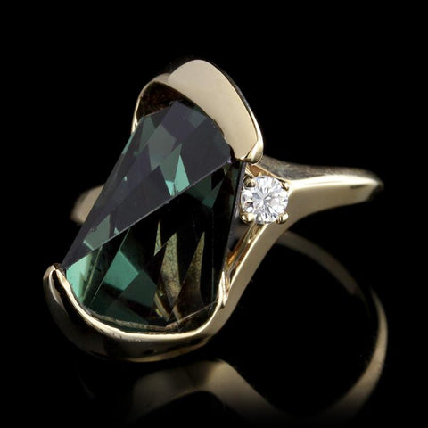 14K Yellow Gold Synthetic Green Tourmaline and Diamond Ring