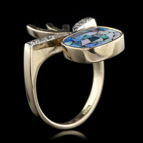 14K Yellow Gold Mosaic Opal and Diamond Ring