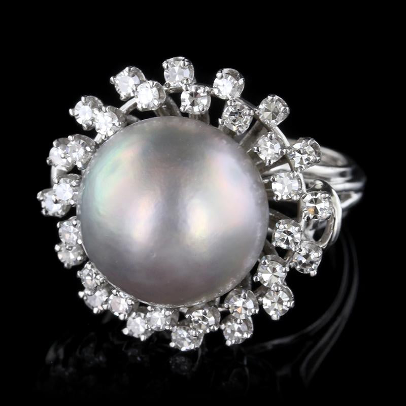14K White Gold Grey Mabe Pearl and Diamond Ring