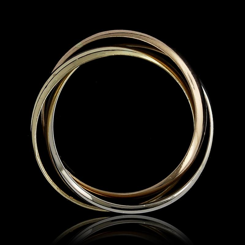 18K Tricolor Gold Rolling Ring