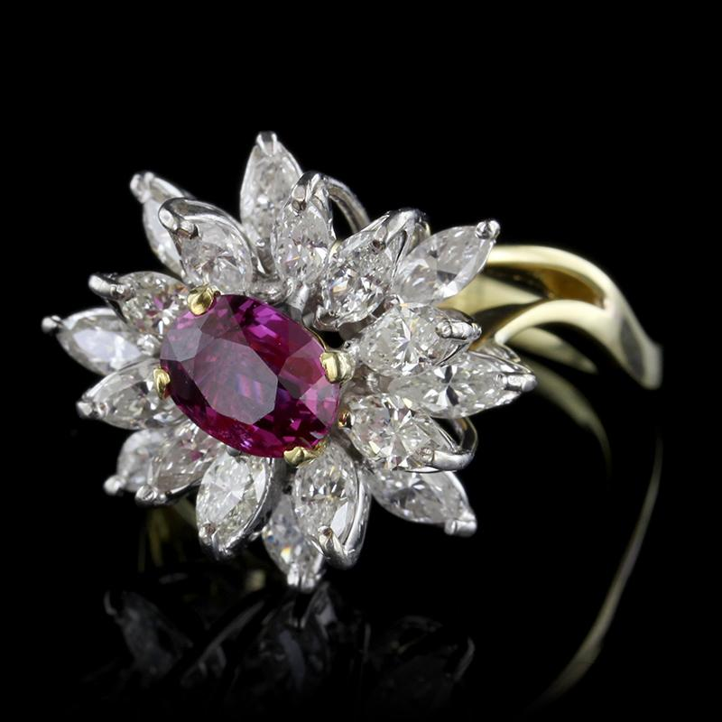 18K Two-Tone Gold Ruby and Diamond Ring