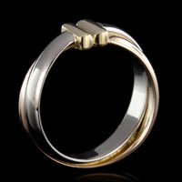 18K Tricolor Estate Crossover Ring