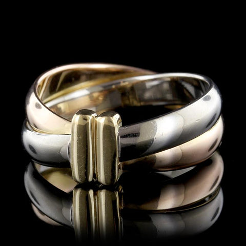 18K Tricolor Crossover Ring