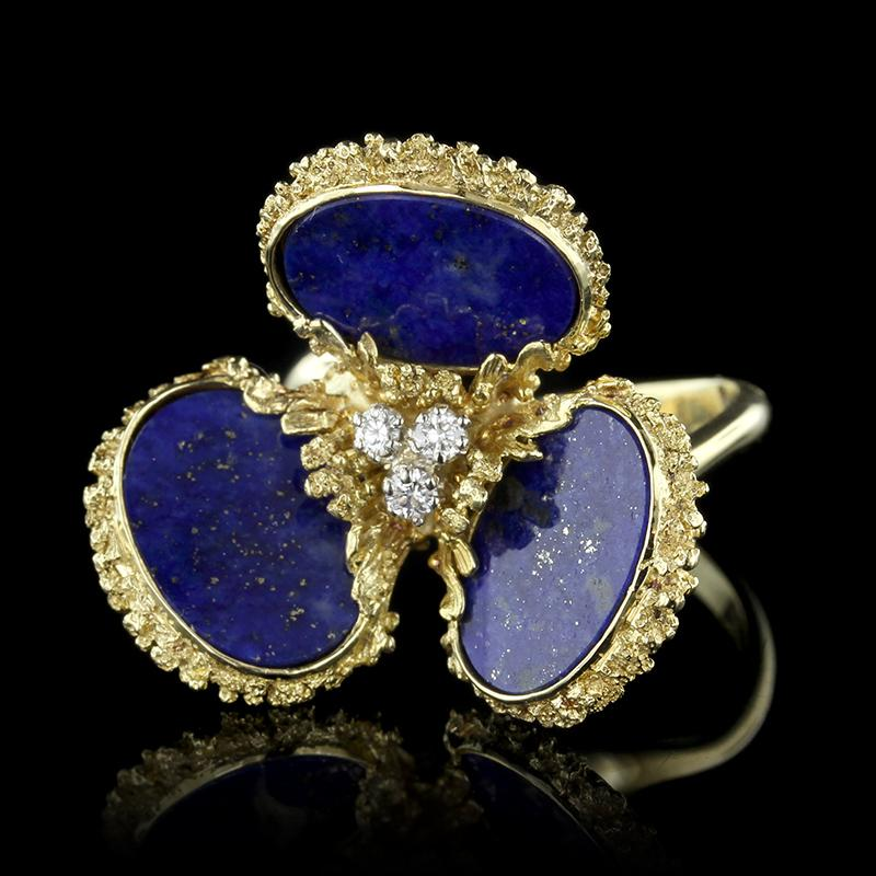 18K Yellow Gold Lapis and Diamond Ring