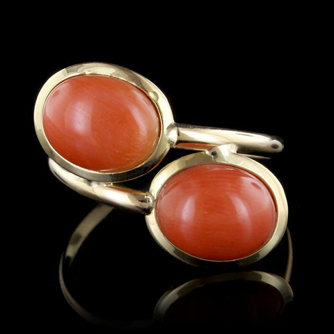 18K Yellow Gold Coral Bypass Ring