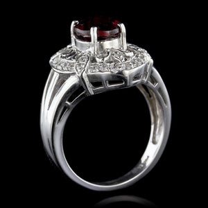 14K White Gold Estate Garnet and Diamond Ring