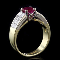 18K Two-Tone Gold Estate Ruby and Diamond Ring