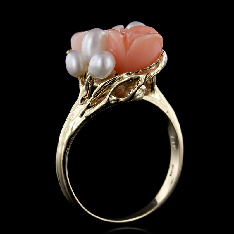 14K Yellow Gold Carved Coral and Freshwater Pearl Ring