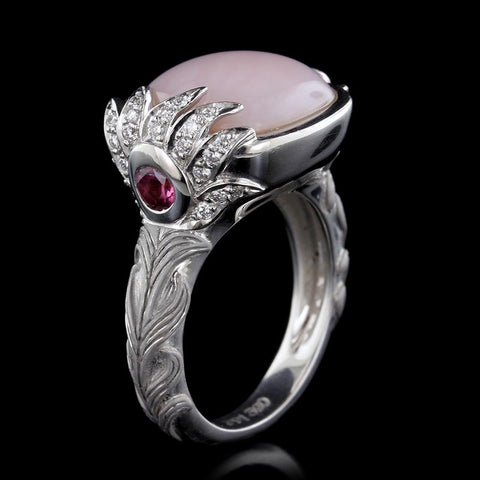 Carrera y Carrera 18K White Gold Pink Opal and Pink Tourmaline Peacock Ring