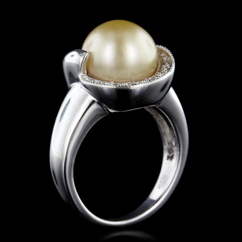 14K White Gold Golden Cultured Pearl and Diamond Ring