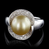 14K White Gold Estate Golden Cultured Pearl and Diamond Ring
