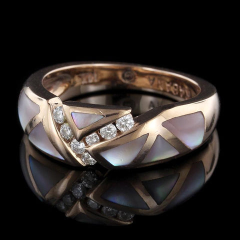 14K Rose Gold Mother of Pearl and Diamond Ring
