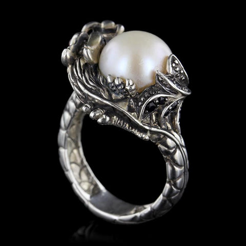 John Hardy Sterling Silver Naga Lava Small Black Sapphire and Pearl Ring