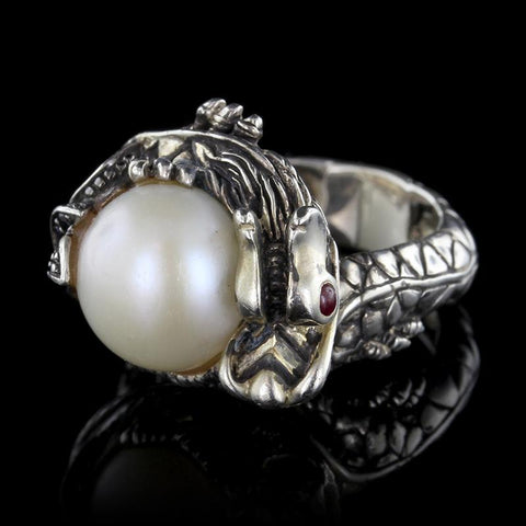 John Hardy Sterling Silver Naga Lava Small Black Sapphire and Cultured Pearl Ring