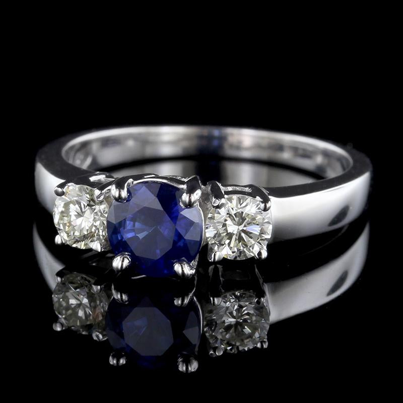 14K White Gold Sapphire and Diamond Three Stone Ring