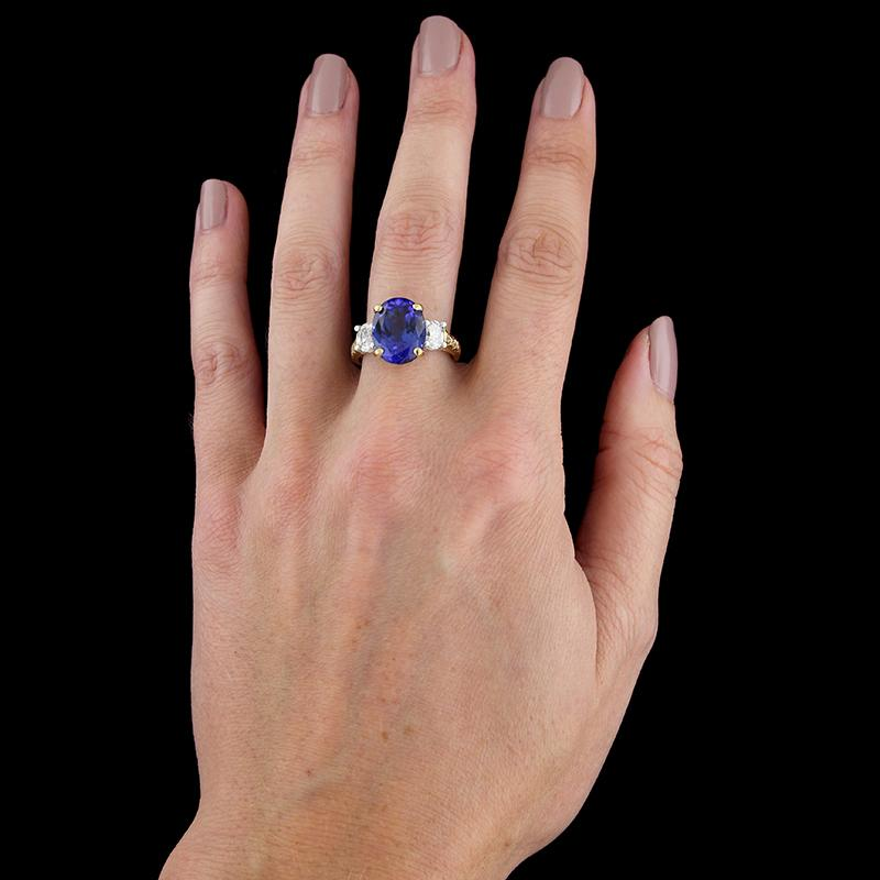 18K Yellow Gold and Platinum Tanzanite and Diamond Ring