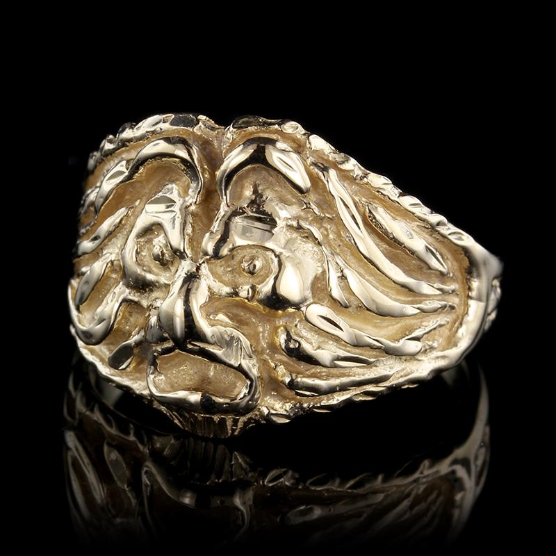 14K Yellow Gold Estate Lion Head Ring
