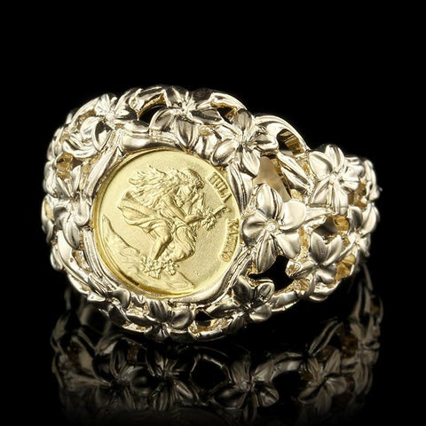 14K and 24K Yellow Gold Kim Taylor Reece Gold Coin Ring