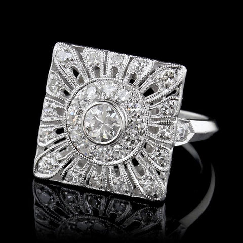 Art Deco Style Platinum Diamond Ring