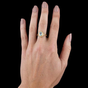 14K Yellow Gold Blue Topaz Ring