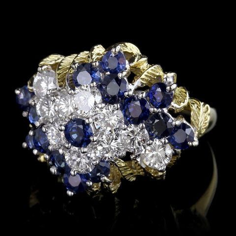 18K Two-Tone Gold Sapphire and Diamond Ring