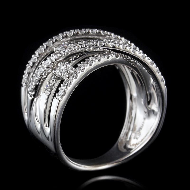14K White Gold Diamond Crossover Ring