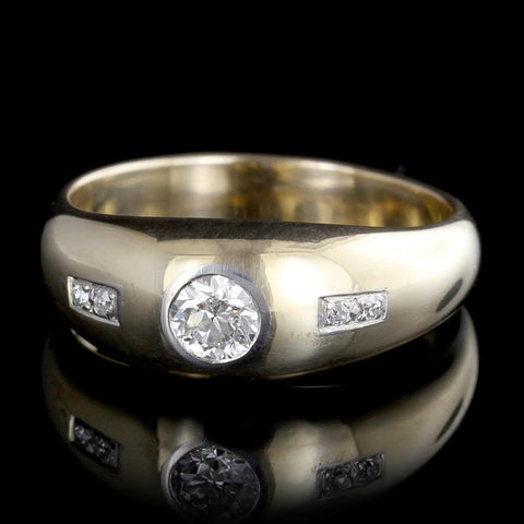Vintage 14K Yellow Gold and Palladium Diamond Ring
