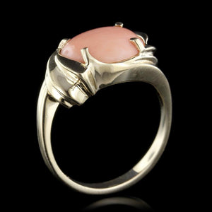 14K Yellow Gold Estate Coral Ring