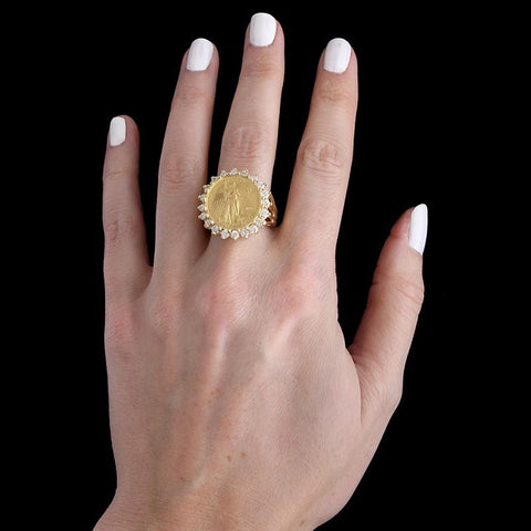 14K Yellow Gold Diamond and American Eagle 1/10 Ounce Gold Coin Ring