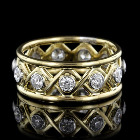 Tiffany & Co. Schlumberger 18K Yellow Gold and Platinum Diamond Ring