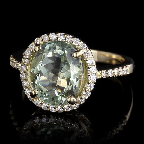 14K Yellow Gold Prasiolite and Diamond Ring