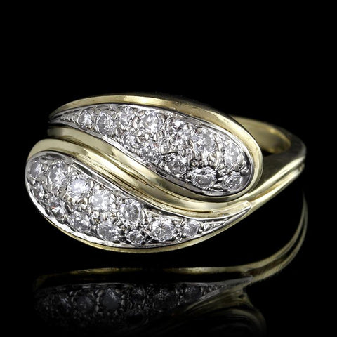 18K Two-Tone Gold Diamond Bypass Ring