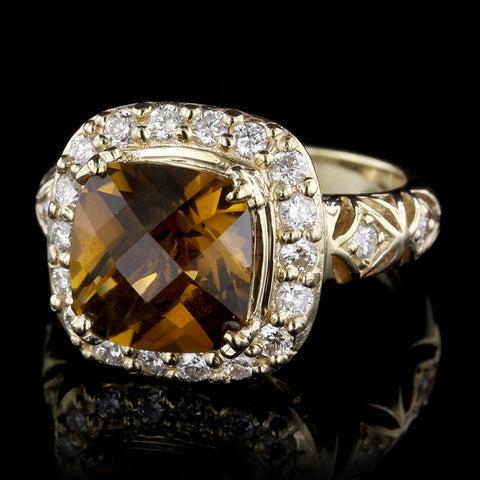 14K Yellow Gold Smoky Quartz and Diamond Ring