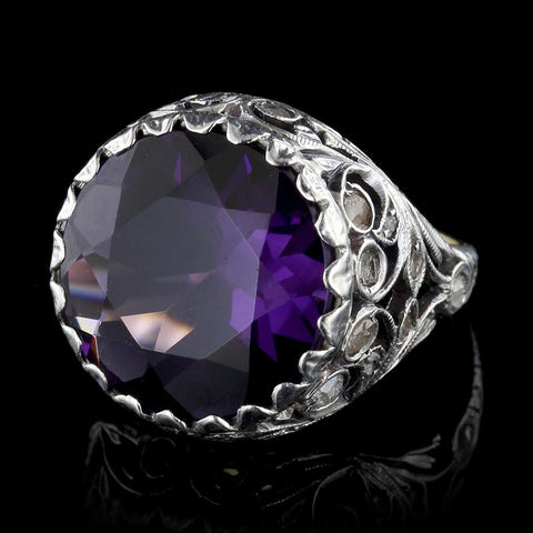 Platinum and 18K Yellow Gold Amethyst and Diamond Ring