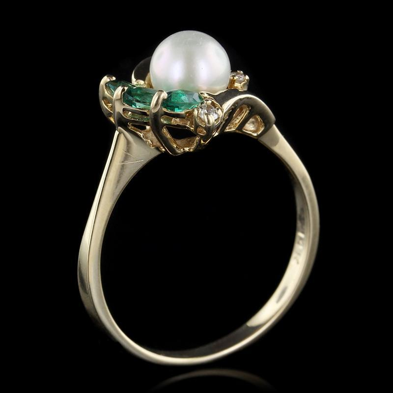 14K Yellow Gold Cultured Pearl, Emerald and Diamond Ring