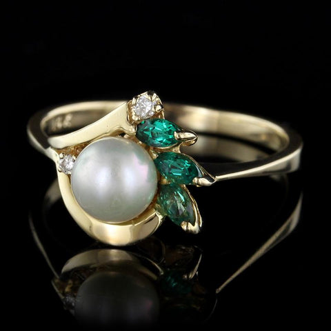 14K Yellow Gold Pearl, Emerald and Diamond Ring