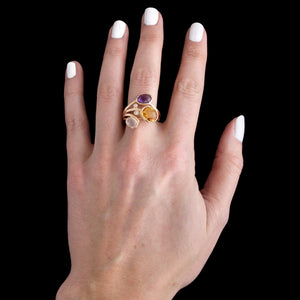 14K Rose Gold Estate Gem-Set Diamond Ring