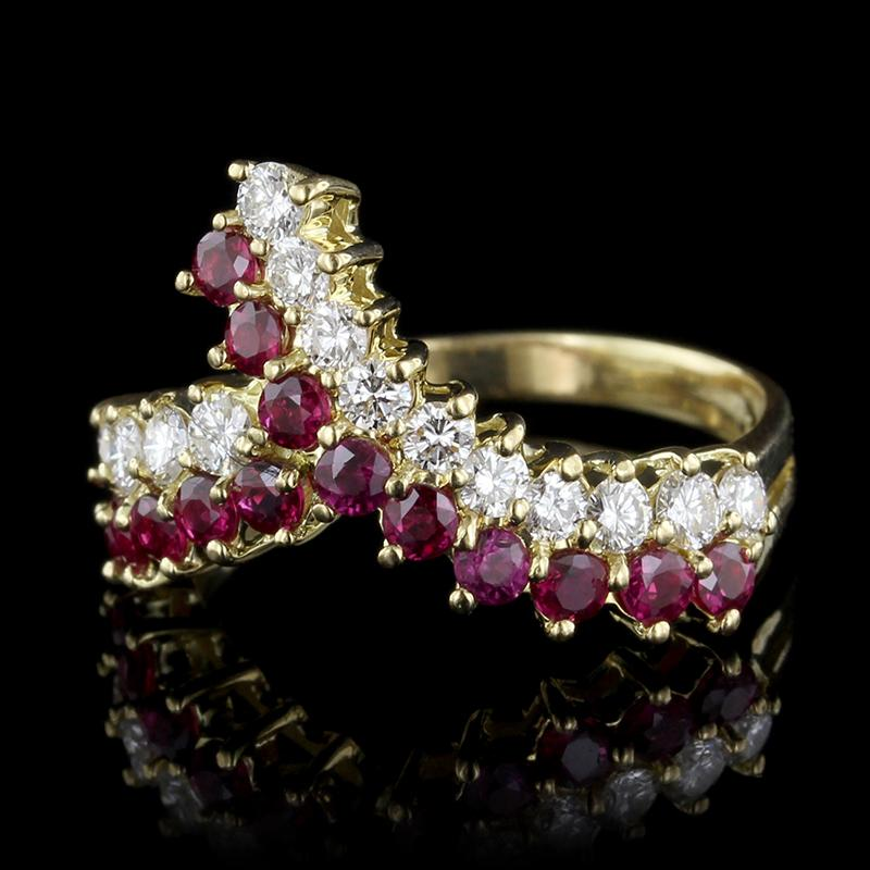 18K Yellow Gold Estate Ruby and Diamond Ring