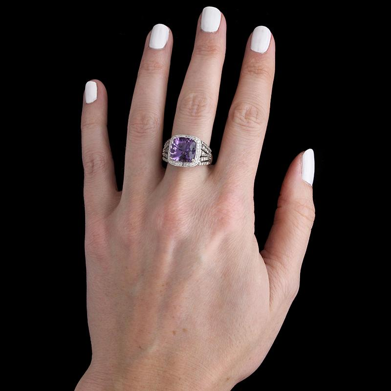 Le Vian 14K White Gold Amethyst, Chocolate Diamond and Diamond Ring