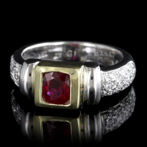 Platinum and 18K Yellow Gold Ruby and Diamond Ring