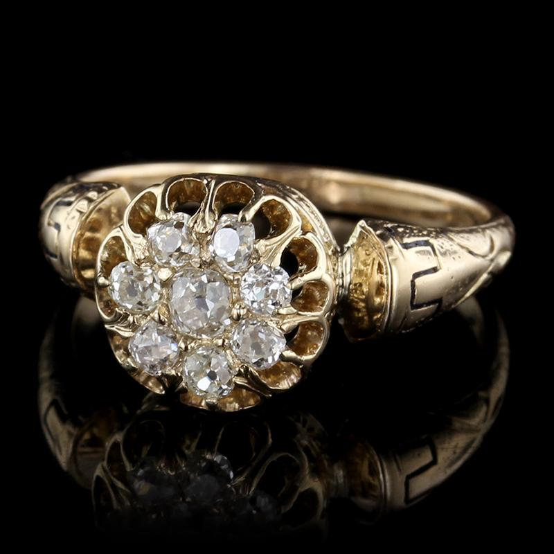 Victorian 14K Yellow Gold Diamond Ring