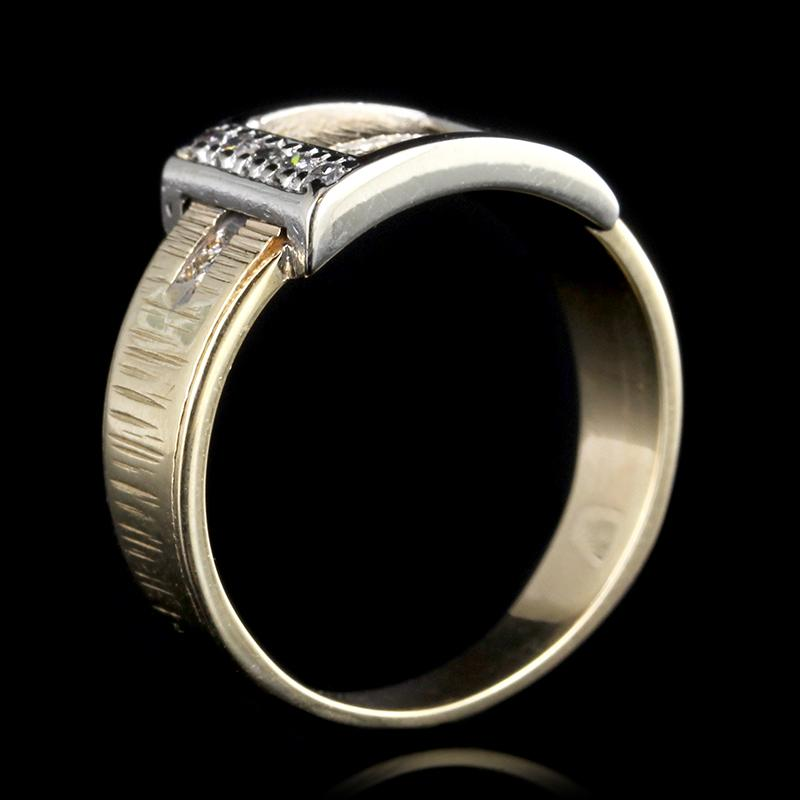 14K Two-Tone Gold Estate Diamond Buckle Ring