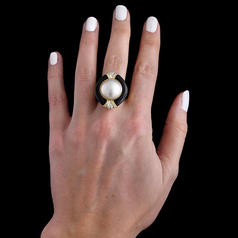 14K Yellow Gold Mabe Pearl, Onyx and Diamond Ring