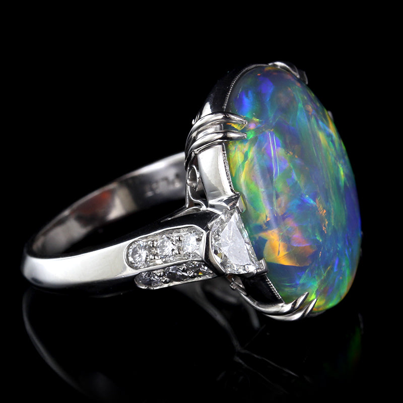Platinum Natural Black Opal and Diamond Ring