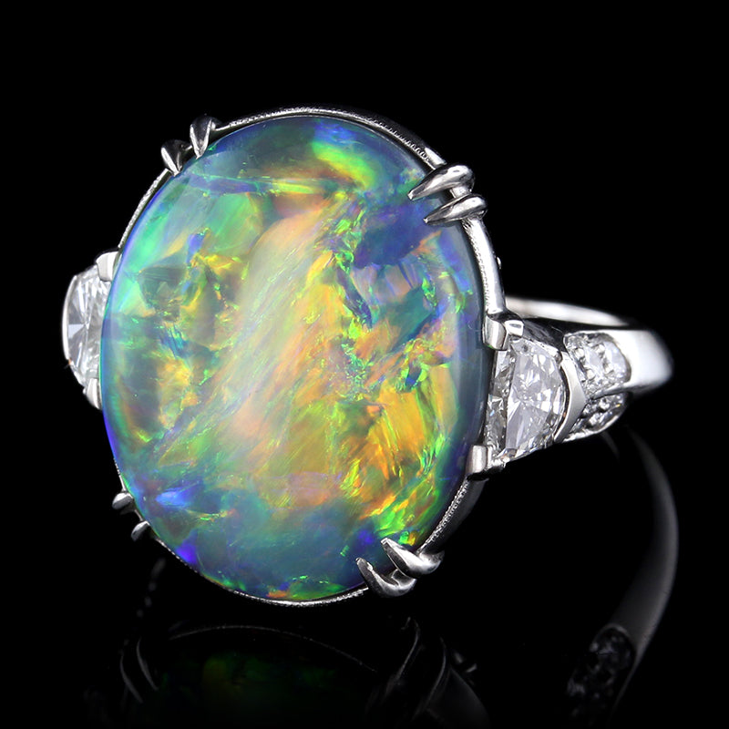 opal and certified diamond products vintage platinum ring gia black rings engagement